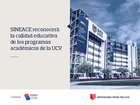 SINEACE reconocerá la calidad educativa de los programas académicos de la UCV